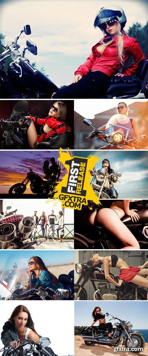 Stock Image Woman on motorbike