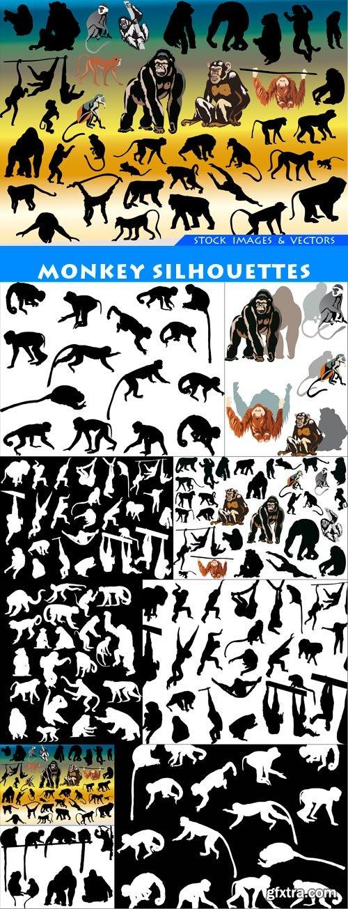 monkey silhouettes 9X EPS