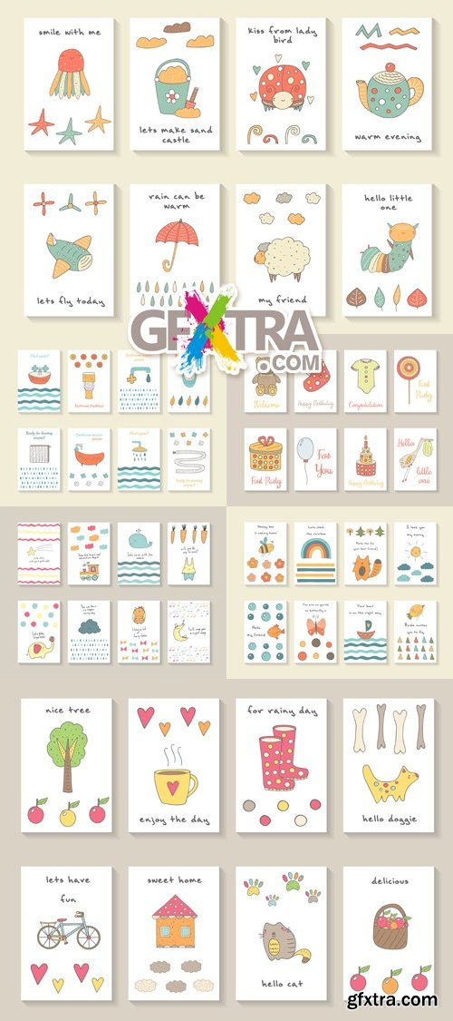 Cute Baby Shower Cards Vector