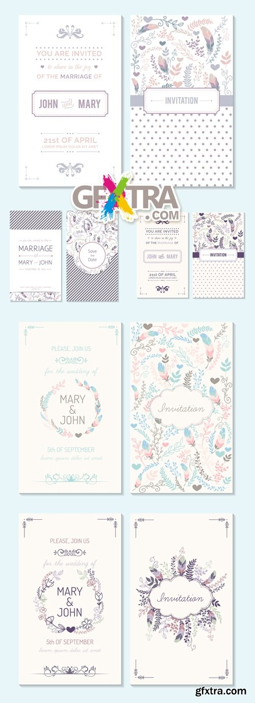 Floral Wedding Invitations Vector 7