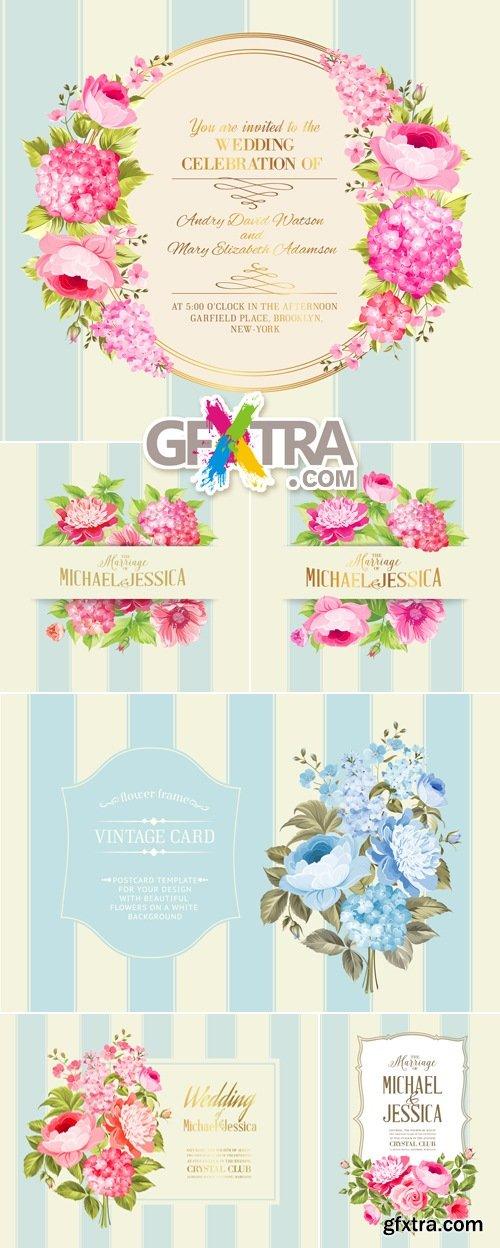 Elegant Wedding Invitations with Flowers Vector