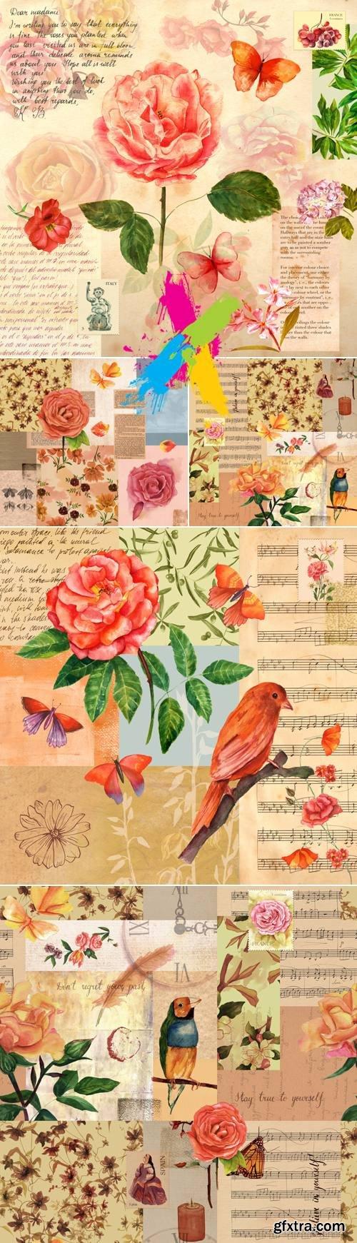 Stock Photo - Vintage Scrapbook Backgrounds