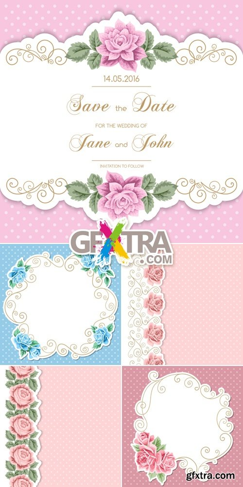 Wedding Invitations with Roses Vector