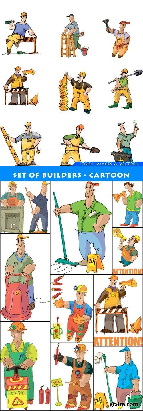 set of builders - cartoon 12X EPS