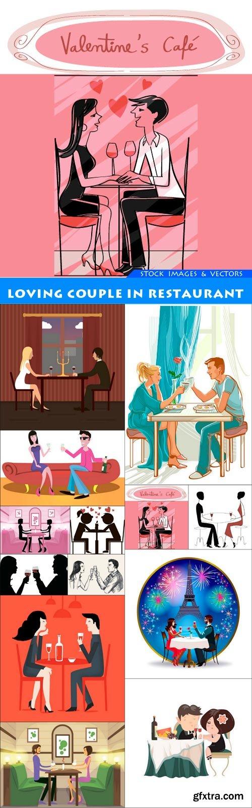 Loving couple in restaurant 13X EPS
