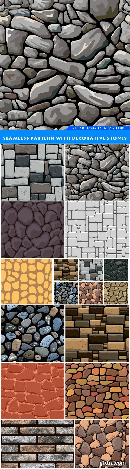 Seamless pattern with decorative stones 12X EPS