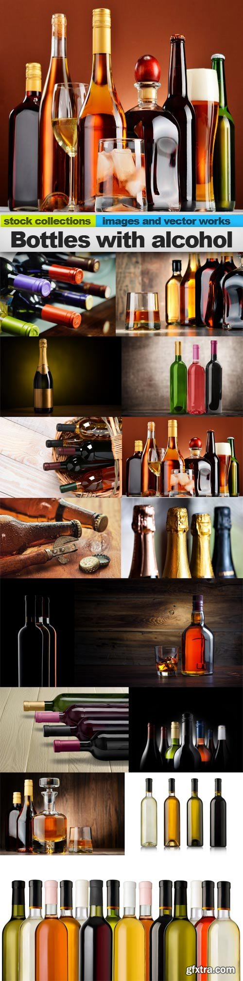Bottles with alcohol, 15 x UHQ JPEG