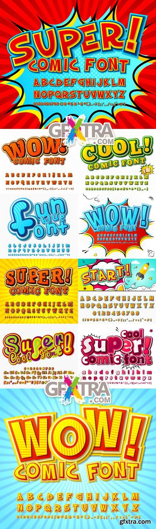 Comic Fonts Collection Vector