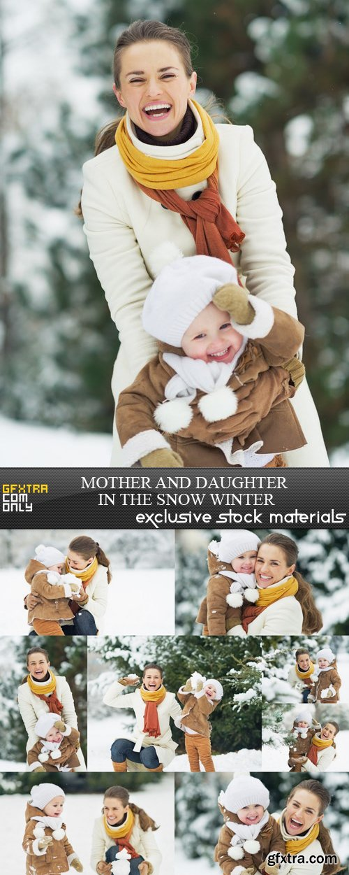 Mother and Daughter in the Snow Winter - 8 UHQ JPEG