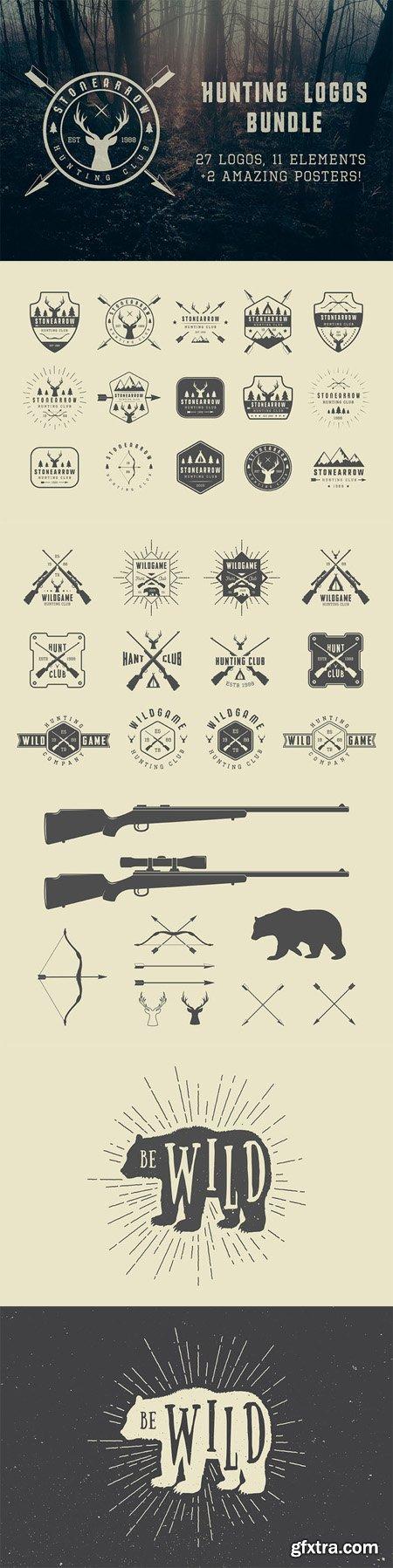 CM - Set of vintage hunting logos 493924