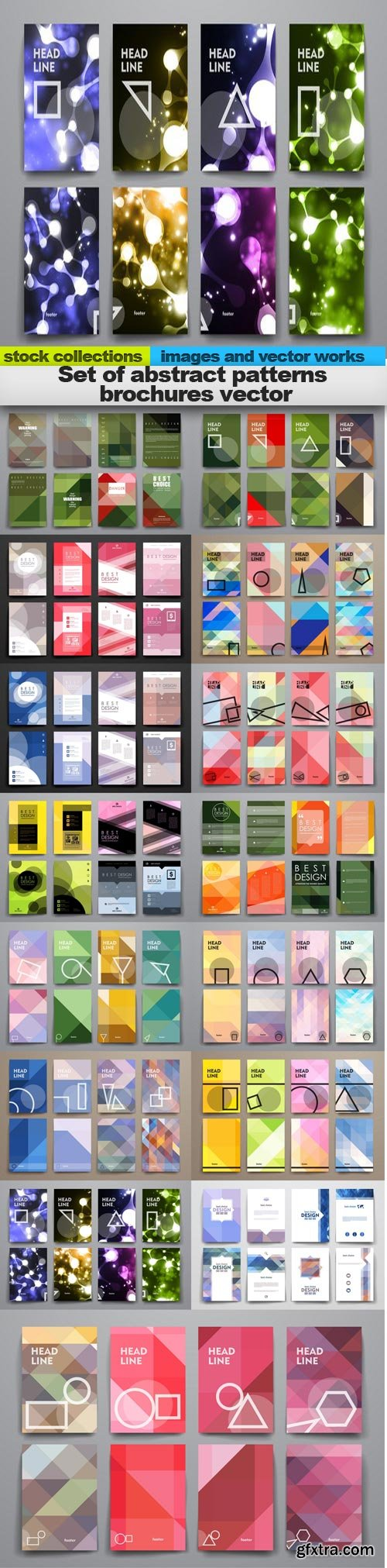 Set of abstract patterns brochures vector, 15 x EPS