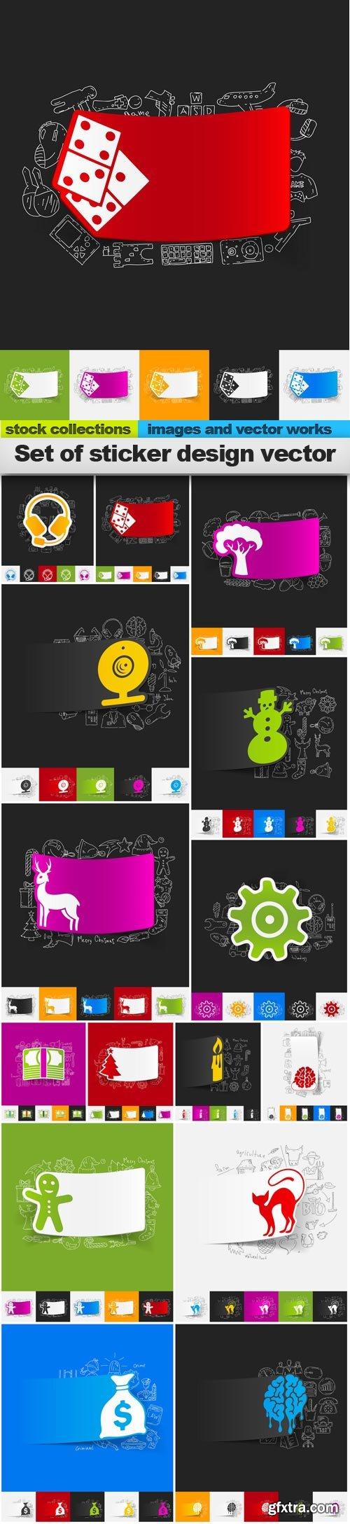 Set of sticker design vector, 15 x EPS