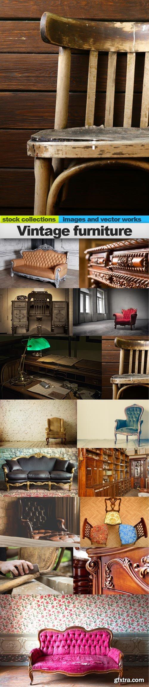 Vintage furniture, 15 x UHQ JPEG