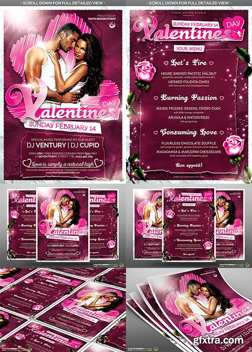 CreativeMarket Valentines Day Flyer+Menu Bundle V7 492059