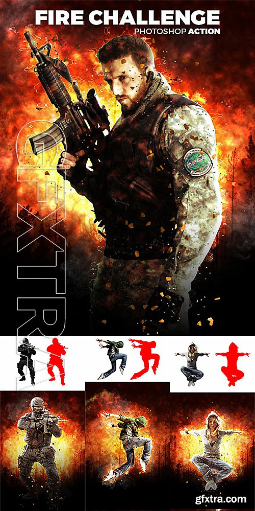 GraphicRiver - Fire Challenge Photoshop Action 14346072