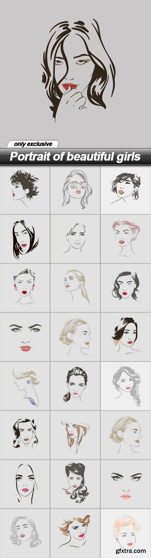 Portrait of beautiful girls - 25 EPS