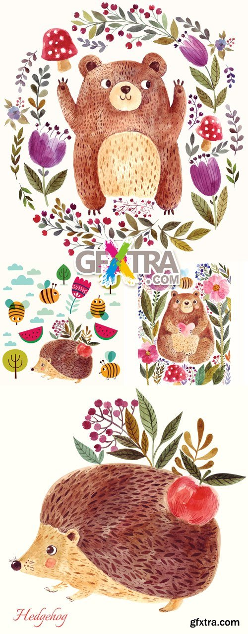 Cute Postcards with Wild Animals Vector