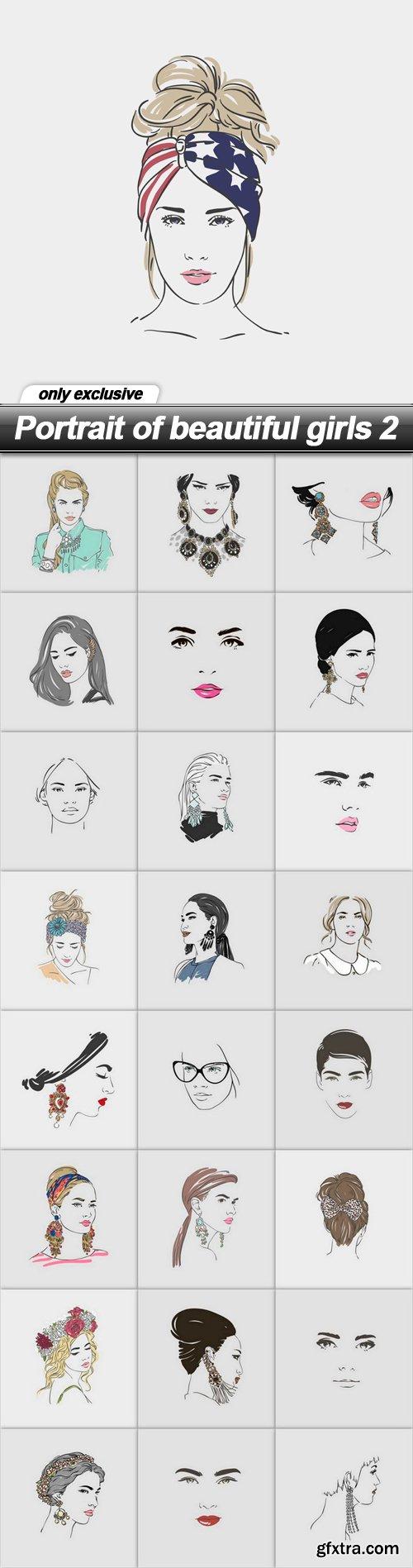 Portrait of beautiful girls 2 - 25 EPS