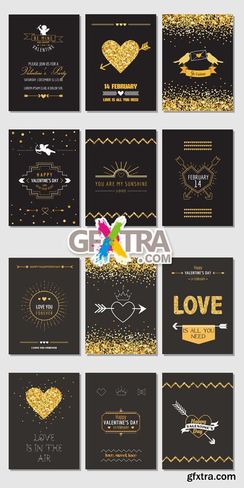 Black Valentine's Day Cards Vector
