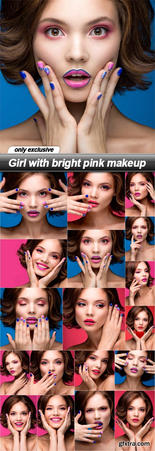 Girl with bright pink makeup - 18 UHQ JPEG