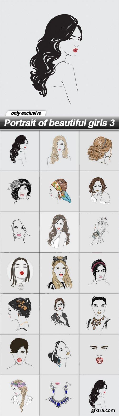 Portrait of beautiful girls 3 - 20 EPS