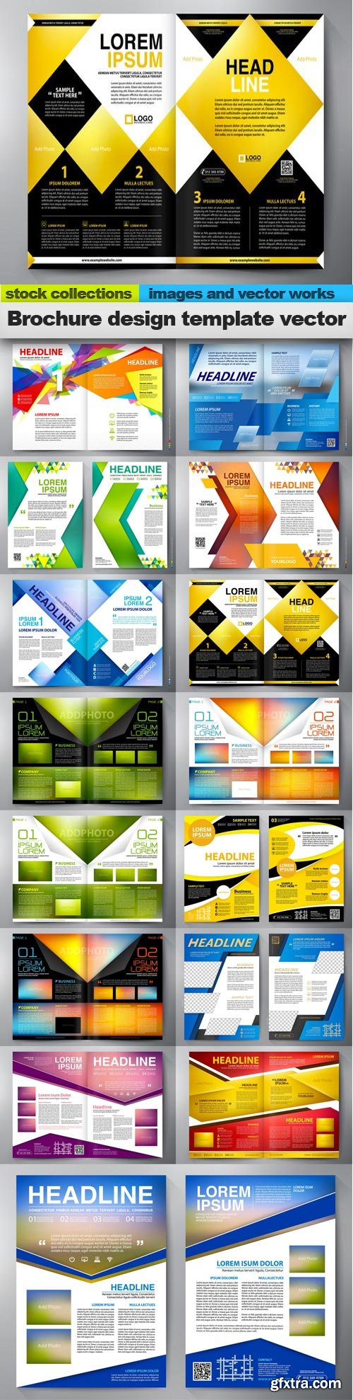 Brochure design template vector, 15 x EPS