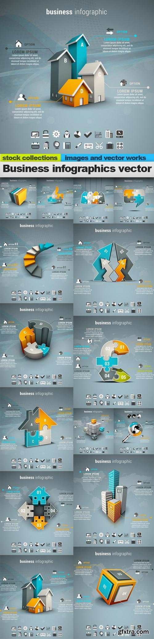 Business infographics vector, 15 x EPS