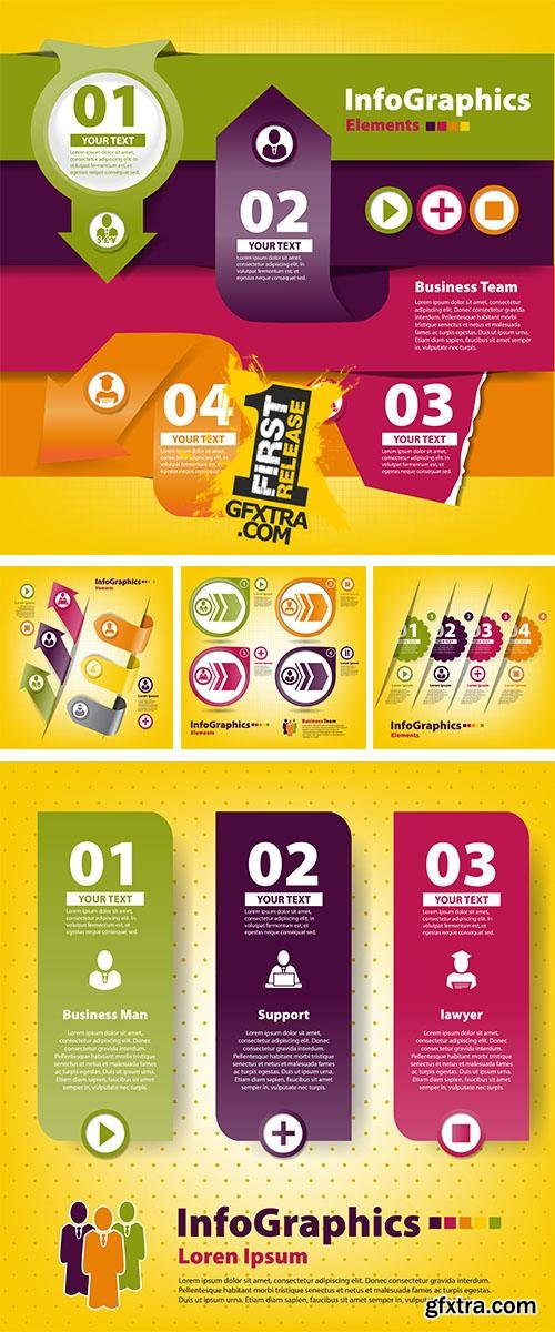 Stock: Set of stickers for infographics with business