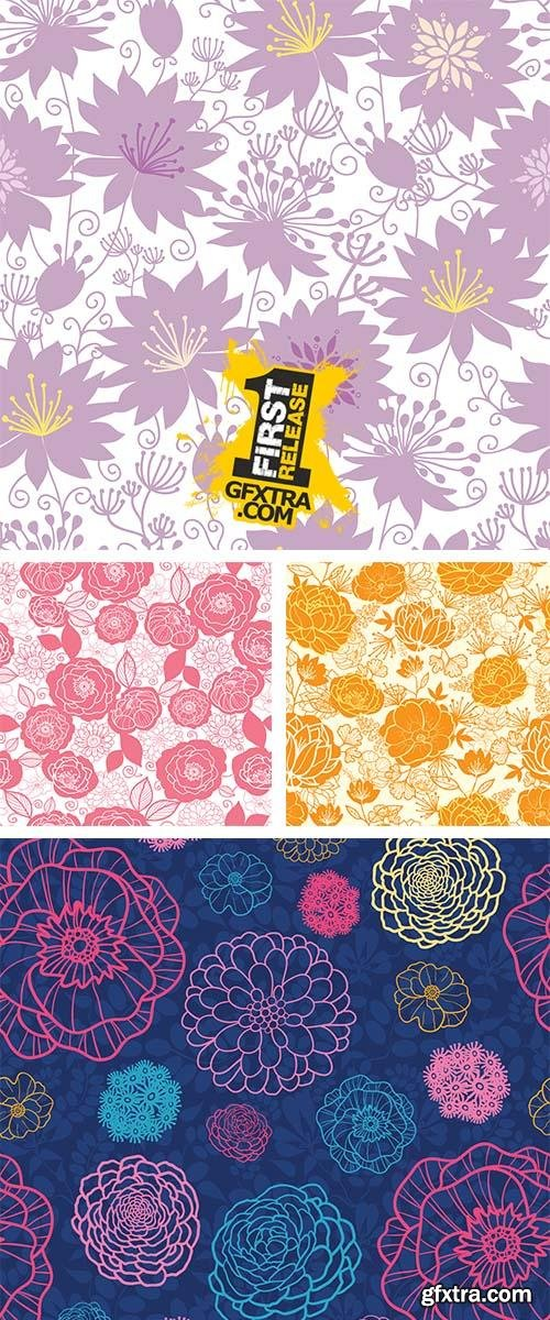 Stock: Vector purple shadow florals seamless