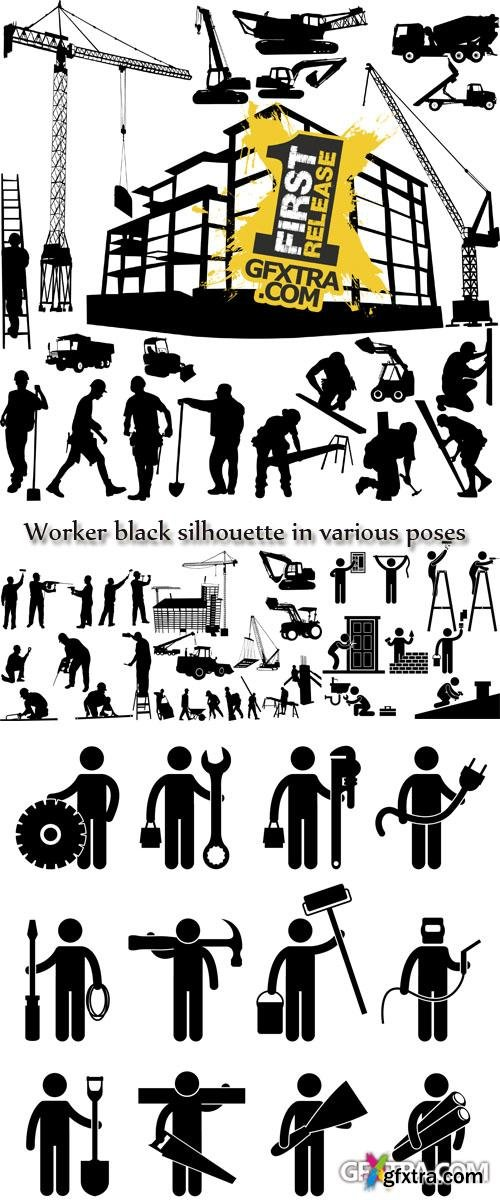 Stock: Worker black silhouette in various poses