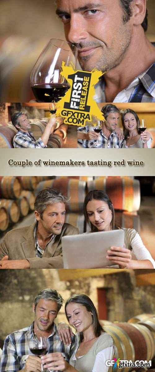 Stock Photo: Couple of winemakers tasting red wine