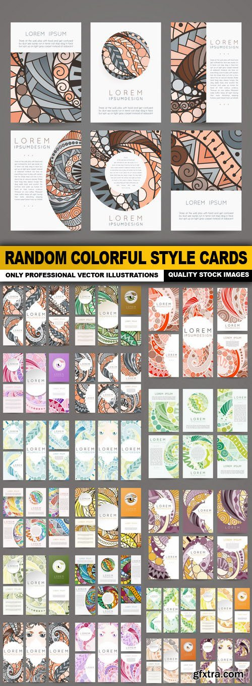 Random Colorful Style Cards - 20 Vector