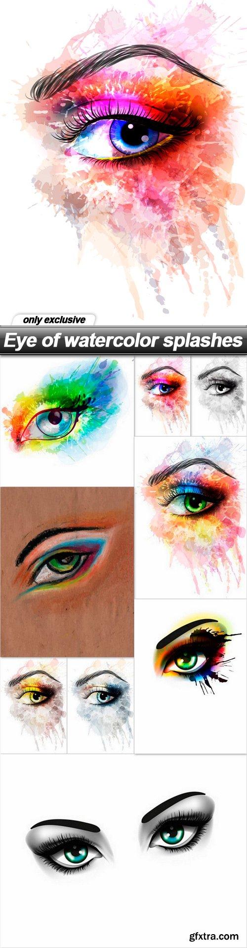 Eye of watercolor splashes - 9 EPS