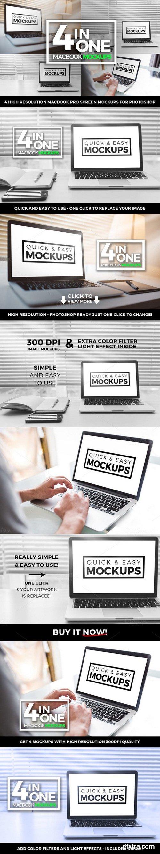 CM - Macbook Pro Mockup Office 4 in one 494358