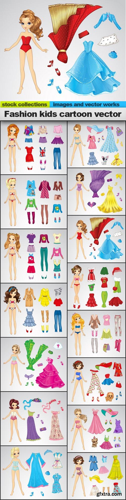 Fashion kids cartoon vector, 15 x EPS