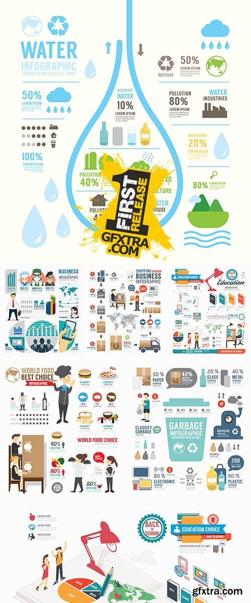 Stock: Infographic garbage annual report template design, vector
