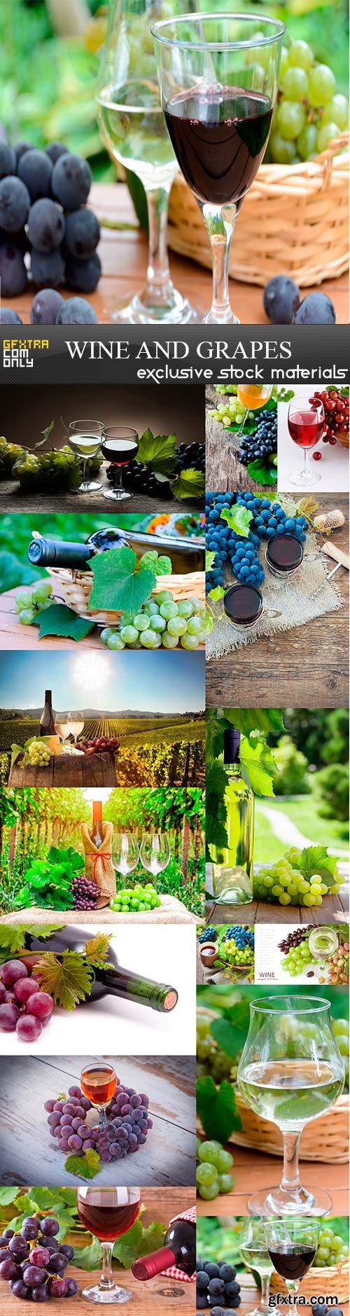 Wine and grapes, 15 x UHQ JPEG