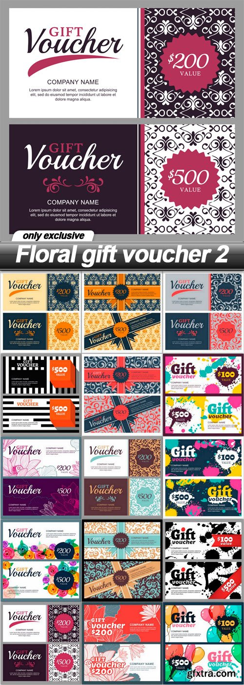 Floral gift voucher 2 - 33 EPS