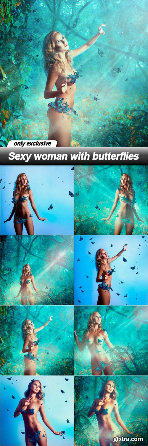 Sexy woman with butterflies - 8 UHQ JPEG