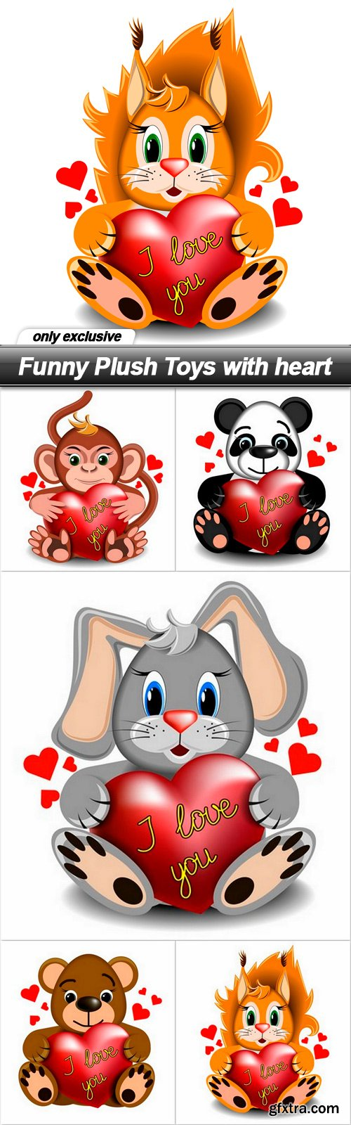 Funny Plush Toys with heart - 5 EPS