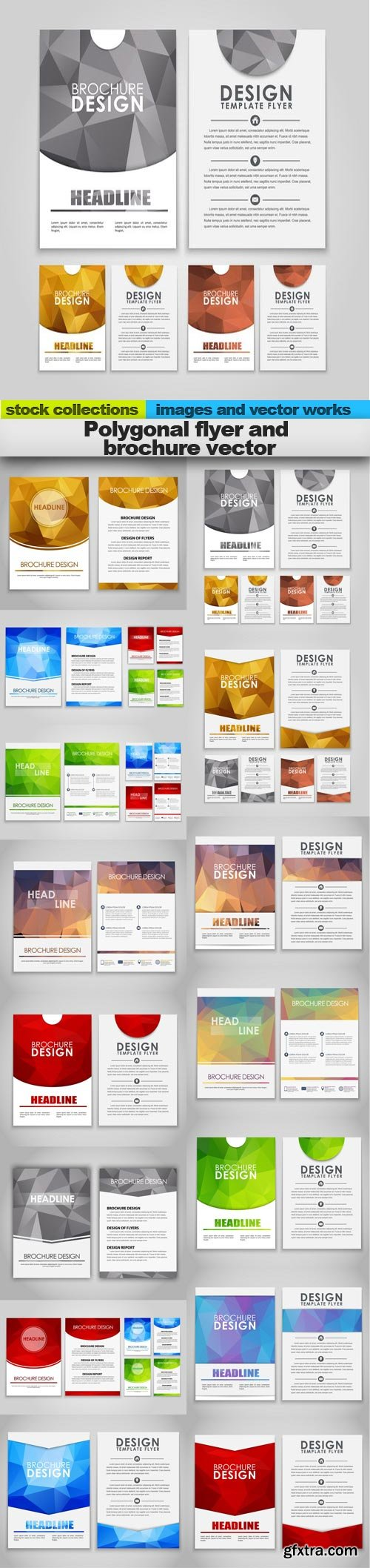Polygonal flyer and brochure vector, 15 x EPS