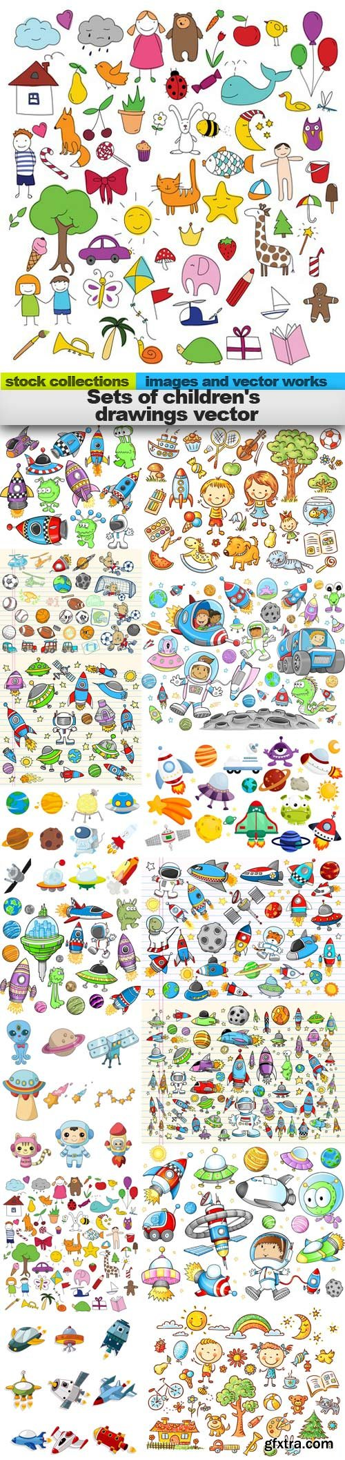 Sets of children's drawings vector, 15 x EPS