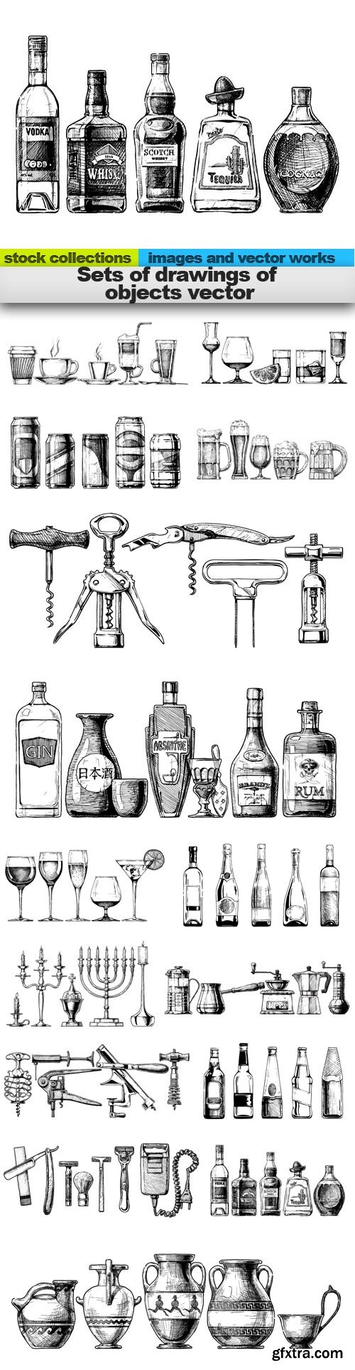 Sets of drawings of objects vector, 15 x EPS