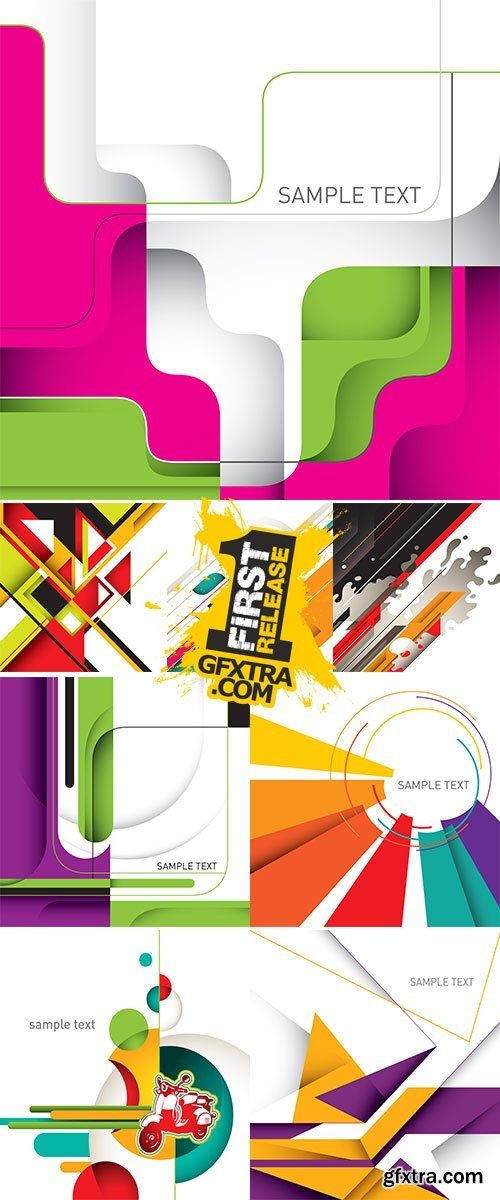 Stock: Artistic layout with designed abstract shapes