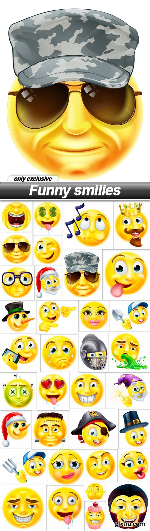 Funny smilies - 35 EPS