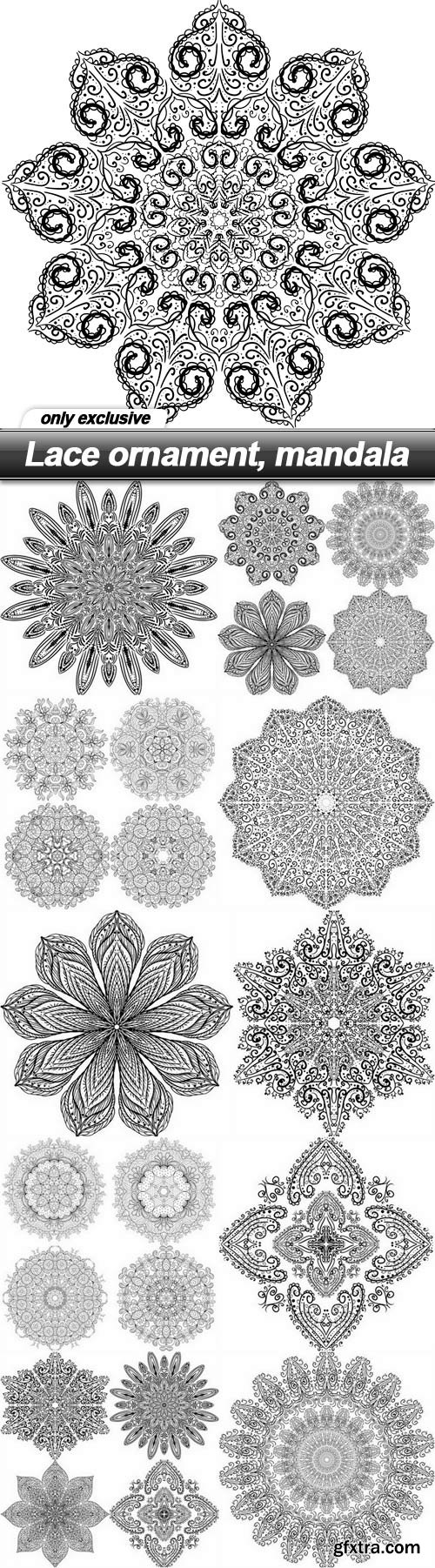 Lace ornament, mandala - 11 EPS