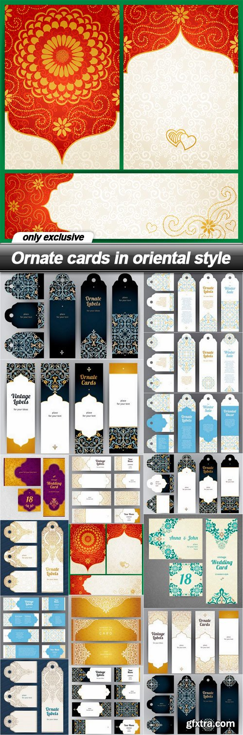 Ornate cards in oriental style - 17 EPS