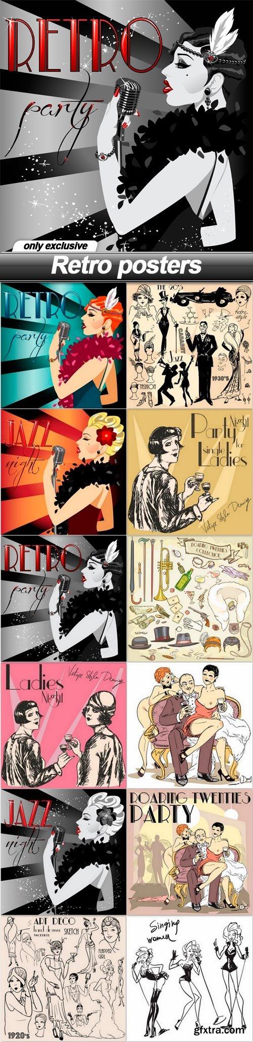 Retro posters - 12 EPS