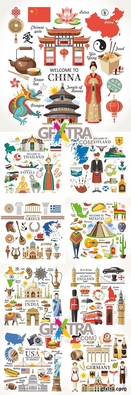 World Travel Icons Vector