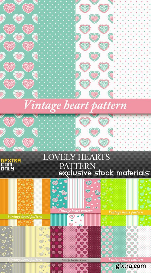 Lovely Hearts Pattern - 6 EPS